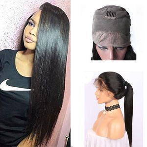 Brasiliano 360 Full Frontal merletto dei capelli umani parrucche con capelli del bambino pre pizzico 150 densità diritta pizzo parrucca frontale 360 per Black Women