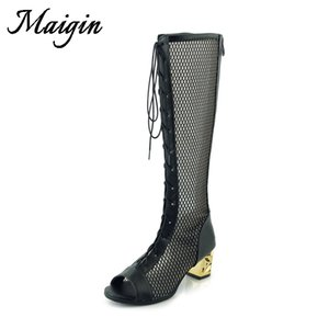 Maigin Knee High Boots 2018 High Heels Lace Up Boots Mujeres Peep Toe Malla transpirable Mujer Sandals Thick Heels Summer Sandals