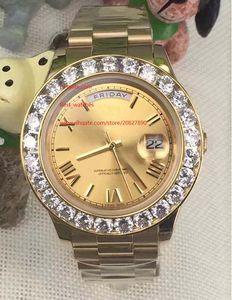 Лучшие высокое качество 116610 Президент Наручные часы Day-Date II 41mm 18k Желтое золото Больше Большие Алмазные Автоматические механические Мужские Часы