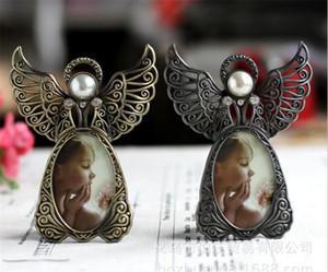 Mini marcos de fotos de metal vintage Estilo de ángel encantador Marco de fotos clásico para decoración del hogar y regalos