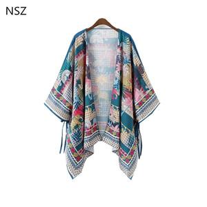 NSZ женщины летний пляж кимоно кардиган цветочные кимоно негабаритных свободные Мыс пальто асимметричные повседневная топ Blusa