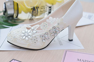 White Flower Lace Wedding Shoes Round Toe Slip On Pumps High Heels Women Shoes Crystals Bridesmaid Shoes