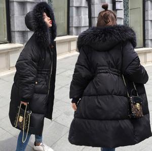 Tunik kırmızı siyah gri beyaz kabarık ceket beraberlik ile dize, kürk kapüşonlu parka ceket kış uzun sıcak bombacı kadın aşağı kapitone elektrikli ceket