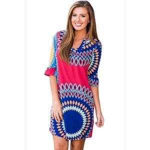 Женщины Raspberry Vibrant Sunshine Boho Dress Мода Винтаж Печати Половина Рукава с V-образным Вырезом Мини-Платья LC220124