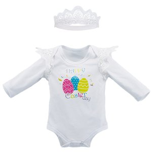 Baby Clothing 2018 Newest Easter's Day Clothes Girls Jumpsuits Colorful Eggs Long Sleeve Lace Romper+Crown Hairband 2Pcs Baby Girls Clothing