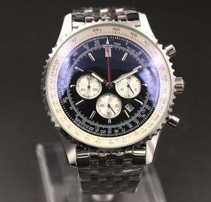 Yeni mens kuvars saatler kronograf 46 milyon siyah kadran 316L gümüş çelik kayış Katı kayış erkek spor izle safir