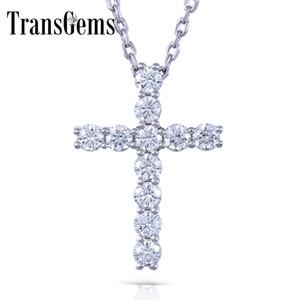 Transgems Em Forma de Cruz Moissanite Prata Esterlina 3 MM GH Cor 1.1 CTW Brilhante Cruz Pingente Necklacefor Mulheres S18101307