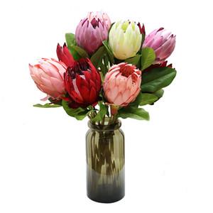 Красивая Искусственная Африка Protea Cynaroides Шелковых Цветы Филиалы Главного Свадебные украшения Венка Растения Цветочной