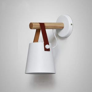 مصباح الجدار بسيط الإبداعية ، الريفية الحديد المطاوع الخفيفة ، الخشب رئيس حزام الجدار الشمعدانات (اللون: أبيض)
