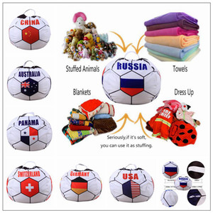 26 inch Russian World Cup Storage Bean Bag Baby Stuffed Animal Football World Cup Pouch Bag Organizer Beanbag CCA9444 30pcs
