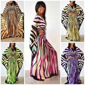 Vestido Africano para as mulheres da moda listra zebra imprimir vestido plus size maxi vestido longo Robe Africaine vetsido