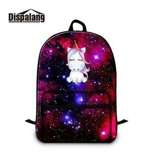 Dispalang Galaxy Star Universe Espace école Sac à dos pour ordinateur portable Teeange Sac à dos Unicorn Cartoon école Sacs enfants Cartable