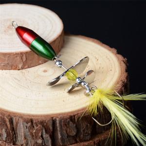 Whopper Popper Bass Lure Killer Spinner crankbaits 7cm 10g Doble hélice Jig Fishing cebo Plopper Feather Hooks