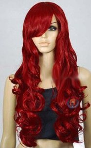 Hot-Sell-New-Fashion-Long-Dark-Rouge-Curly-Wavy-Femmes-039-s-Lady-039-s-cheveux-perruque-Perruques-Casquette Hot-Sell-New-Fashion-Long-Dark-Red -Curly-Wa