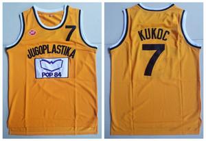 Mens Vintage Toni Kukoc # 7 Jugoplastika Yugoslavia Camisetas de baloncesto europeas Barato amarillo Toni Kukoc cosido baloncesto camisetas S-XXL