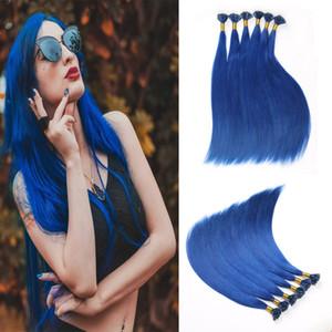 U Uñas En Forma de Extremidad Remy Extensiones de Cabello Humano Color Azul Pre Fusionada 50 Filamentos 1 g / Hilo de Uñas U Punta de Extensión de Cabello
