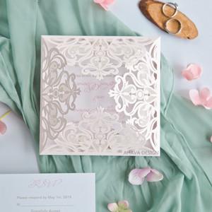 Invitations de mariage élégantes Invitations de mariage coupées au laser Floral Printemps Rose Blush