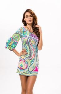 BOHO Mulheres Vestido de Verão Estampa Floral Leite De Seda Do Vintage Bohemia Vestido de Praia Um Ombro Sexy vestido de festa