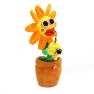 Creative Singing Flower Dancing Girasole Peluche per bambini Bambola musicale Regalo di compleanno Girasole con sassofono 60 brani Q0480