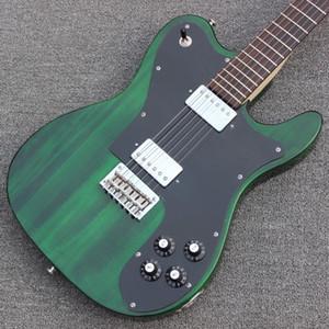 72 Telecaster Deluxe ligne mince Tele Vert Guitare électrique Tremolo Cordier, Micros Humbucker, pickguard noir, cordes Thru Pont du corps