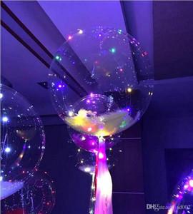 Ballon à air en PVC de nuit à effet de boule LED avec ballons lumineux avec cordon de lumière 18 pouces Airballoon pour le mariage, décorations de fêtes d'anniversaire