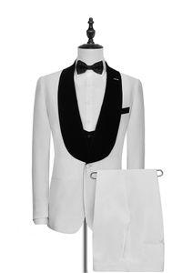 Black Velvet Shawl Lapel White 3 Piece Suit Groom Tuxedos Man Wedding Suit Men Business Prom Excellent Blazer(Jacket+Pants+Tie+Vest) 1211