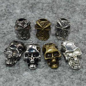 10 teile / paket Einzelne Vertikale Loch Metall Schädel Perlen für Paracord Messer Lanyards