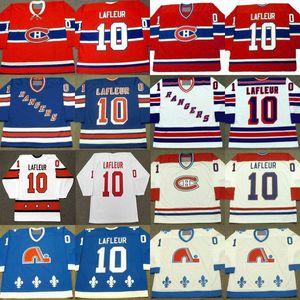 Retro 10 Guy Lafleur Jersey Nova Iorque Rangers 1988 Montreal Canadiens 1973 Camisolas de Hóquei de Quebec Nordiques 1990 Stitched Logo