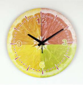 الليمون الحديثة الجدار الديكور ساعة الحائط مع ماء على مدار الساعة الوجه أزياء جميلة تزيين المنزل مطبخ ساعة الحائط