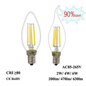 LED filamento de la bombilla E12 E14 2W Edison 4W 6W luz de la vela 110V 220V 240V C35 360 ° de la Lámpara de vidrio para pendiente cristalino del accesorio