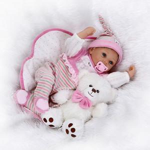 """2016 Nova 22 """"55 cm Silicone Bonecas Reborn Bebês Recém-nascidos Bebê Recém-nascidos Bebe Reborn para Kid Brinquedos Presentes Teddy Bear Juguetes"""