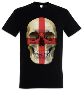 CLASSIC ENGLAND SKULL FLAG T-SHIRT - Biker Banner UK Great Britain T-Shirt
