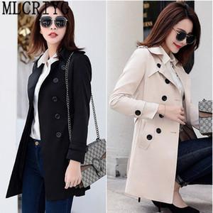 MLCRIYG 2018 Nuevo Classic Breasted Black Trench Coat Mujeres Slim Long Coats Ladies Business prendas de vestir exteriores más el tamaño 6XL LX308