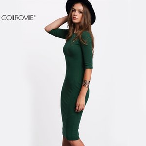 COLROVIE Work Summer Style Women Bodycon Dresses Sexy 2017 Nueva llegada Casual Green Neckater Half Sleeve Midi Dress