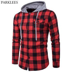 أحمر أسود منقوشة قميص مقنعين الرجال كم طويل سليم صالح عادية متقلب هوديس قمصان رجالي الجيب زر الجبهة قميص أوم 2XL