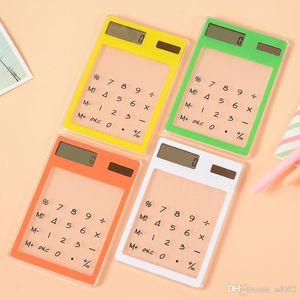 Criativo Quadrado Calculadora Transparente De Plástico Ultra Fino Energia Solar Mini Calculadoras Para O Estudante Aprender Contagem de Suprimentos Portátil 4 7rt ZZ