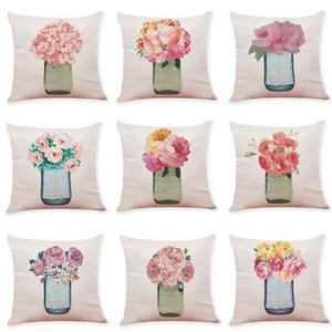Creative Vase Pattern Linen Cushion Covers Home Office Sofa Square Pillow Case Decorative Pillow Covers Without Insert(18*18Inch)