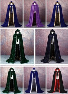 New Velvet Hooded Cloak Cape Mittelalterliches Renaissance Kostüm LARP Halloween Fancy Dress Velvet Darstellende Kostüme Ritterumhang