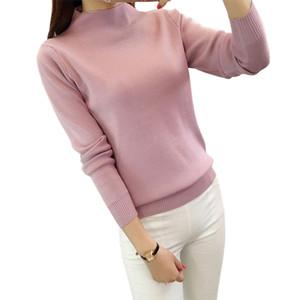 Herbst und winter pullover damenmode halben rollkragen langarm warm schlank gestrickt pullover damen pullover sweter mujer