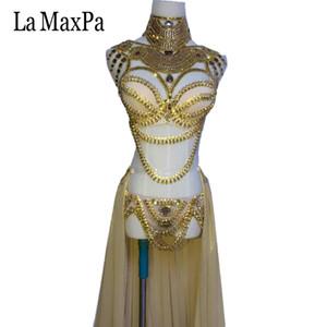 La MaxPa 2017 nuovo arrivo sexy femminile cantante costume dj ds regioni occidentali stile donne costume di scena argento oro vestito da ballo
