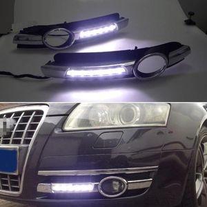 2PCS 아우디 A6 C6 2005 년 2006 년 2007 년 2008 크롬 스트립 방수 ABS 차량 DRL 램프 12V LED 낮 빛 일광 실행
