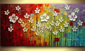 handmade palette knife textured abstract white flower painting landscape modern oil wall hanging decoration office décor