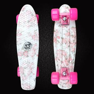 "Hot Sale Flowers Printed 22"" Skateboard Complete Skateboarding Mini Longboard Boy Girl Cruiser Skate Board 4 wheel skates PD04"