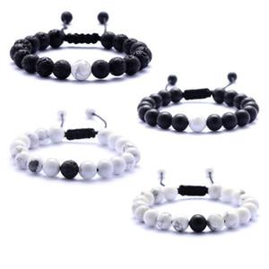 Pulseras de piedra de lava con cuentas tejiendo ágata negra Pulsera de piedra blanca Pulsera de piedra natural para las mujeres Joyería de moda Manualidades 8 MM Perlas