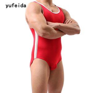 YUFEIDA Men's Fight Body fuerte Leotardo camiseta de lucha Mankini Shaper Jumpsuit Boxer Briefs Ropa interior Freestyle Leotardo