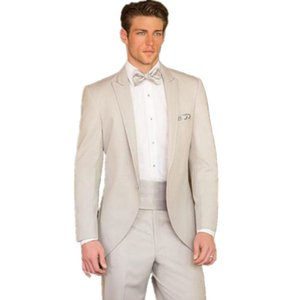 2017 Custom Made Fashion Beige Slim Fit Suits Bridal Tuxedos Wedding Suits for men Formal Evening jacket+pants