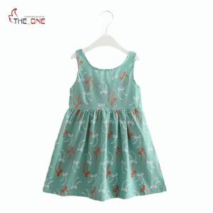 MUABABY 2-7T девушка платье детские дети летний цветок вишня спинки сарафан девушка хлопок рукавов Принцесса пляж повседневные платья