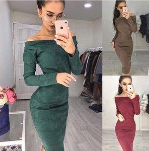 Las mujeres slash cuello hasta la rodilla vestido lápiz sexy Party Club Slim Bodycon Dress Lady manga larga vestidos envío gratis S-XL