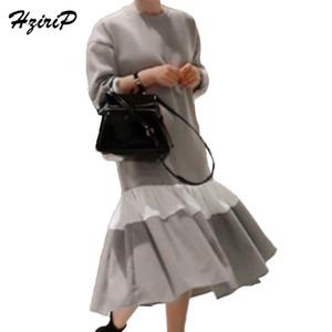 HziriP Vintage Patchwork Robes Longues Femmes Automne Sweat Dress Femme High Street Filles À Manches Longues Noir Vestidos Mujer