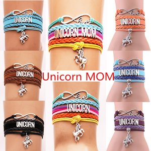 """Infinito encantadores brazaletes de moda """"Unicorn MOM"""" Horse Charm pulsera de cuero regalos de la fiesta de cumpleaños familiar 12 colores opcionales"""